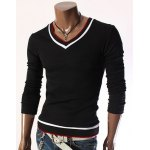 Fashion Slimming V-Neck Color Block Striped Rib Design Long Sleeve Cotton Blend Knitted T-Shirt For Men