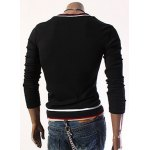 Fashion Slimming V-Neck Color Block Striped Rib Design Long Sleeve Cotton Blend Knitted T-Shirt For Men deal