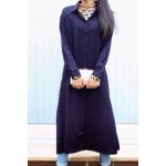 Casual Solid Color Shirt Collar Long Sleeve Shirt Dress For Women