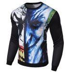 Hot Sale 3D Abstract Funny Face Rib Hem Slimming Round Neck Long Sleeves Men's Sweatshirt deal