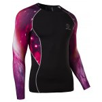 cheap Outdoor Necessary Round Neck Hit Color 3D Starry Sky Spliced Long Sleeves Men's Sweat Dry Tight T-Shirt