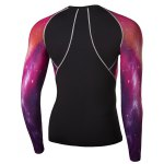 Outdoor Necessary Round Neck Hit Color 3D Starry Sky Spliced Long Sleeves Men's Sweat Dry Tight T-Shirt for sale