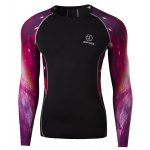 Outdoor Necessary Round Neck Hit Color 3D Starry Sky Spliced Long Sleeves Men's Sweat Dry Tight T-Shirt