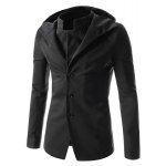 Buy Faux Twinset Hooded Zipper Cuffs Back Slit Solid Color Long Sleeves Men's Slimming Single-Breasted Coat M BLACK