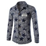 Buy Vintage Lapel Full Star Pattern Embroidered Patch Hit Color Slimming Men's Long Sleeves Coat 2XL BLUE