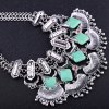 Delicate Square Shape Turquoise Engraved Flower Tassel Necklace For Women for sale