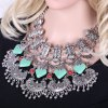 cheap Delicate Square Shape Turquoise Engraved Flower Tassel Necklace For Women