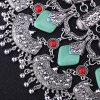 best Delicate Square Shape Turquoise Engraved Flower Tassel Necklace For Women