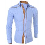 cheap Stylish Shirt Collar Slimming Color Block Sutures Design Long Sleeve Polyester Shirt For Men