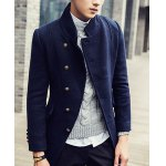 Buy Slimming Turn-Down Collar Long Sleeve Inclined Button Design Men's Woolen Coat 3XL