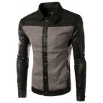 Buy PU-Leather Long Sleeves Color Spliced Geometric Knurling Turn-down Collar Men's Slim Fit Jacket XL GRAY