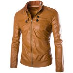 Buy Slimming Rib Stand Collar Multi-Button Solid Color Sutures Design Long Sleeves Men's PU Leather Jacket M BROWN