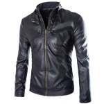 Buy Slimming Rib Stand Collar Multi-Button Solid Color Sutures Design Long Sleeves Men's PU Leather Jacket 2XL BLACK
