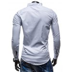 cheap Slimming Stand Collar Personality Button Fly Hit Color Covered Edge Men's Long Sleeves Shirt