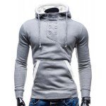 Buy Trendy Hooded Double Breasted Pocket Hemming Slimming Long Sleeve Cotton Blend Hoodie Men 2XL COLORMIX