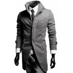 Buy Long Style Turn-down Collar Patch Pocket Special French Front Full Sleeves Men's Woolen Blend Coat M GRAY