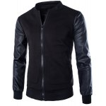 Buy Large Patch Pocket PU Leather Spliced Rib Hem Slimming Stand Collar Long Sleeves Men's Jacket M BLACK