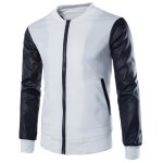 Buy Large Patch Pocket PU Leather Spliced Rib Hem Slimming Stand Collar Long Sleeves Men's Jacket XL WHITE