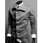 Buy Slimming Turn-down Collar Solid Color French Front Patch Pocket Long Sleeves Men's Woolen Blend Coat 2XL GRAY