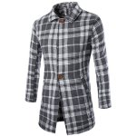 Buy Slimming Lapel Patch Pocket Striped Taps Single-Breasted Long Sleeves Men's Woolen Blend Plaid Coat 2XL CHECKED