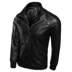 Buy Zipper Pocket Rib Spliced Sutures Design Stand Collar Long Sleeves Slimming Men's PU Leather Jacket L BLACK