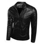 Buy Stylish Stand Collar Zipper Cuffs Solid Color Sutures Design Long Sleeves Men's Slimming PU Leather Jacket 5XL BLACK
