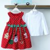 cheap Cute Turtle Neck Solid Color T-Shirt + Sleeveless Polka Dot Bowknot Embellished Cartoon Spliced Dress Christmas Suits For Girl