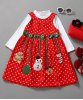 Cute Turtle Neck Solid Color T-Shirt + Sleeveless Polka Dot Bowknot Embellished Cartoon Spliced Dress Christmas Suits For Girl deal