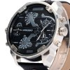 Shiweibao A3137 Male Dual Movt Quartz Watch with Date Function Leather Band deal