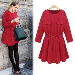 cheap Sweet Round Collar Long Sleeve Pure Color Drawstring A-Line Women's Mini Dress