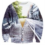Hot Sale Round Neck Creative 3D Zipper Street Scenery Print Rib Hem Men's Long Sleeves Sweatshirt 11027