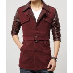 Buy Turn-Down Collar PU-Leather Splicing Long Sleeve Single-Breasted Men's Jacket 3XL
