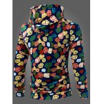 cheap 3D Colorized Geometric Pattern Print Drawstring Hooded Long Sleeves Men's Slim Fit Hoodie