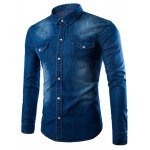 Buy Deep blue Casual Style Slimming Long Sleeves Turn-down Collar Solid Color Pockets Embellished Men's Denim Shirt-20.86 Online Shopping GearBest.com