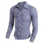 Buy Personality Irregular Button Fly Solid Color Shirt Collar Long Sleeves Men's Slimming M GRAY