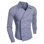 Buy Personality Irregular Button Fly Solid Color Shirt Collar Long Sleeves Men's Slimming M