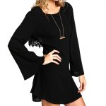 cheap Stylish Scoop Collar Bell Sleeve Cut Out Back Lace Spliced A-Line Women's Mini Dress