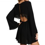 Stylish Scoop Collar Bell Sleeve Cut Out Back Lace Spliced A-Line Women's Mini Dress for sale