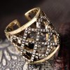 best Vintage Hollow Out Square Rhinestone Women's Cuff Ring
