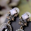 Pair of Retro Faux Crystal Square Oval Earrings For Women deal