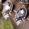 Pair of Retro Faux Crystal Square Oval Earrings For Women for sale