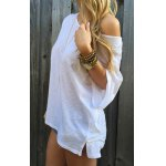 cheap Casual 1/2 Sleeve Loose-Fitting Solid Color T-Shirt For Women