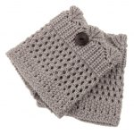 best Pair of Chic Button Embellished Hollow Out Mesh Shape Knitted Boot Cuffs For Women