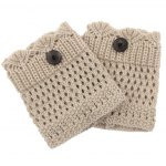 Pair of Chic Button Embellished Hollow Out Mesh Shape Knitted Boot Cuffs For Women deal