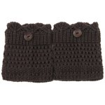 cheap Pair of Chic Button Embellished Hollow Out Mesh Shape Knitted Boot Cuffs For Women