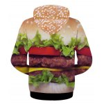 cheap Modish Fitted Hooded 3D Hamburger Pattern Long Sleeve Cotton Blend Hoodie For Men
