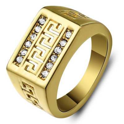 Vintage Rhinestone Hollow Out Ring For Men