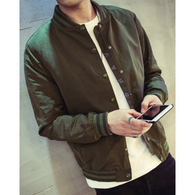 Фотография Solid Color Stand Collar Letter Print Long Sleeve Slimming Men