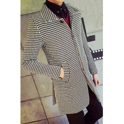 Гаджет   Long Style Lapel Houndstooth Print Striped French Front Slimming Full Sleeves Men