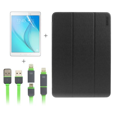 ENKAY 3 in 1 Screen Film Charge Sync Cable Back Case for Samsung Galaxy Tab A 9.7 / T550